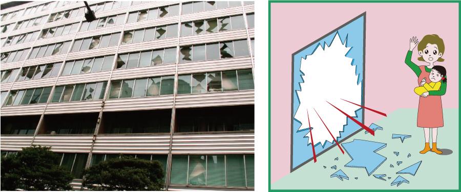 ガラスの飛び散り防止対策窓用フィルム